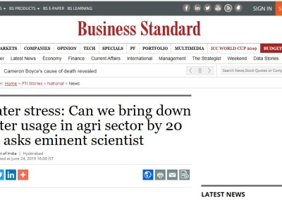 Water stress: Can we bring down water usage in agri sector by 20 pc, asks eminent scientist