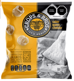 Baked Snack Made of Rice, Quinoa, Lentil and Millet, Cheddar Cheese Flavor by Crops & Bros