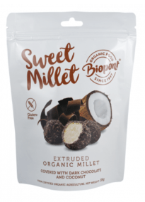 Extruded Millet Ball Covered with Dark Chocolate and Coconut