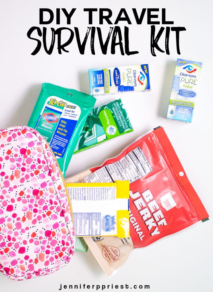 Make this DIY Travel Survival Kit to take on your next trip so you'll be prepared no matter what the trip throws your way. No more red eyes or getting sick. The secret is Clear Eyes®. See how to put together a DIY travel survival kit and why Clear Eyes® is the #1 essential item you must have the next time you travel. jenniferppriest.com #MyPureRelief [ad]
