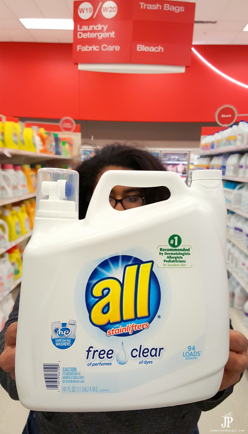 Find all free and clear detergent in the laundry aisle at Target Stores. We use all to deal with our seasonal allergies - it removes 99% of allergens from clothing.