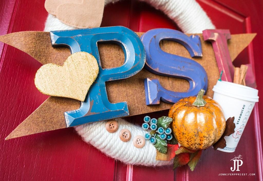 PSL-Wreath---Starbucks-Pumpkin-Spice-Latte-FALL-WREATH-by-jenniferppriest Fall wreath inspired by Starbucks PUMPKIN SPICE LATTE - PSL cup, sweater, ugg boots, and more make a FUN fall wreath with pumpkin!