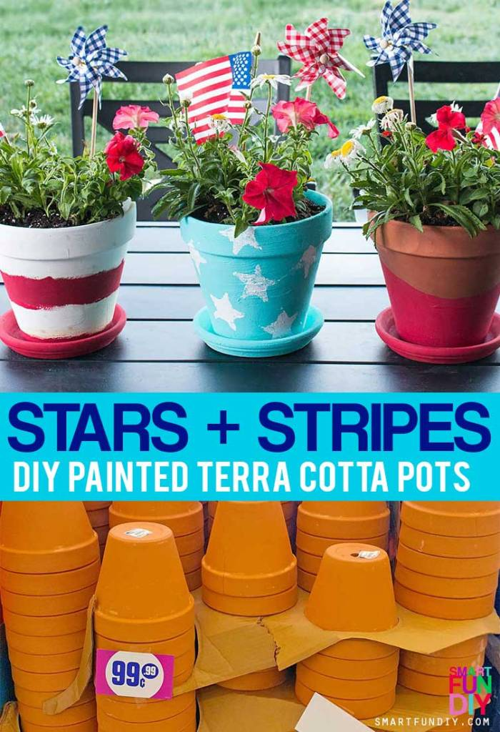 Scored an amazing deal on a bunch of terra cotta pots at @99centsonly so I made a bunch of DIY terra cotta pot ideas. Get 3 patriotic DIY terra cotta pot ideas at https://www.smartfundiy.com/4th-of-july-diy-terra-cotta-pot/ #DoingThe99 #99YourFourth #DoingThe99 #99YourFourth #4thofjuly #terracotta #99cents #partydecor #partyideas #summer #america #americana [AD]