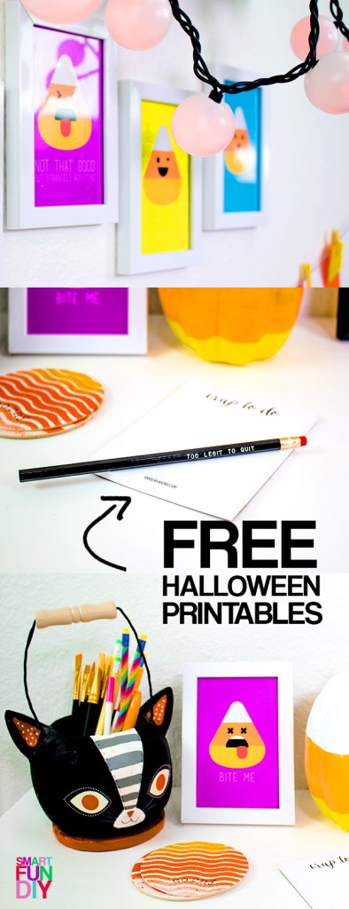 The cutest Halloween decor for your desk! Grab the candy corn emoji FREE printables at Smart Fun DIY #candycorn #Haloweendecor