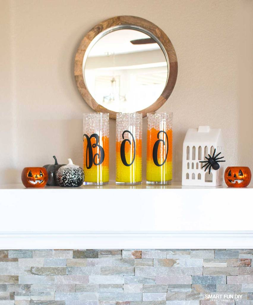 Candy Corn Vases! Halloween Decor is easy with GEMNIQUE Water Beads. Add typography vinyl letters for more of a trendy look.