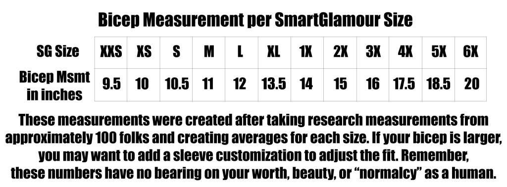 Smartglamour Size Chart | Smartglamour - Body Positive Clothing