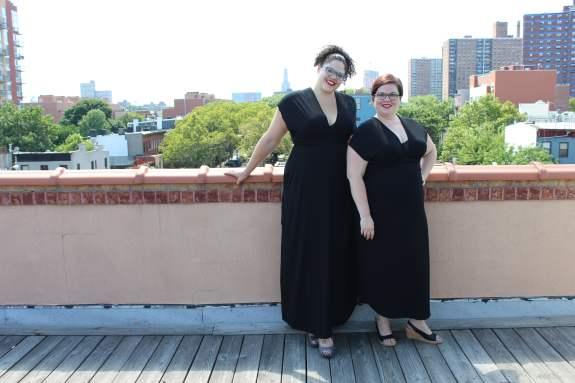 Mikaela and Sarah, both a 3X, wearing the Arianna Convertible Dress.