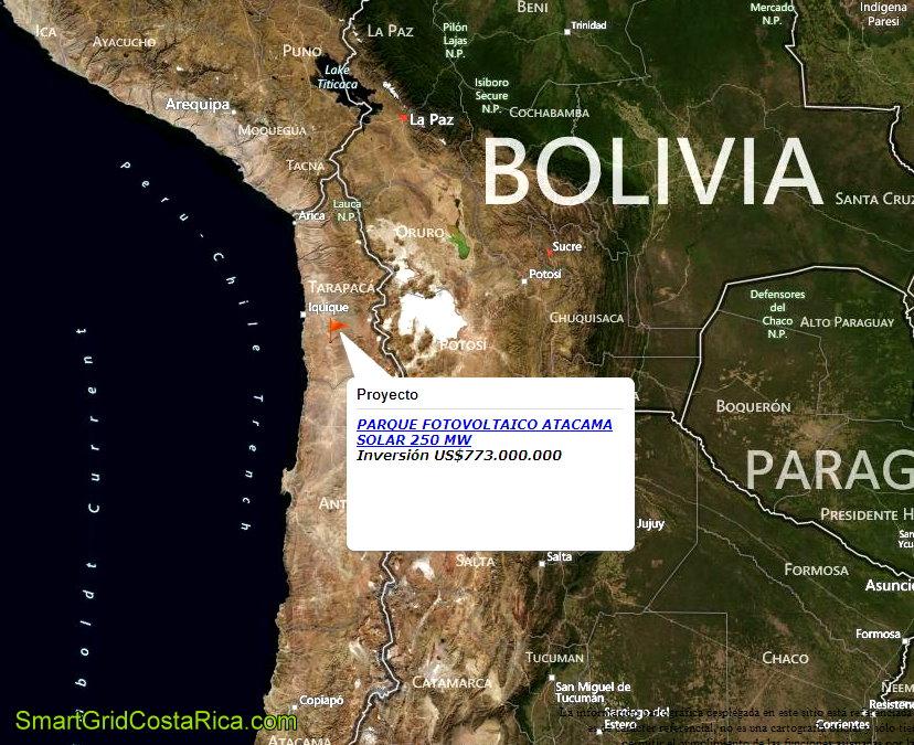 Desierto Atacama Chile Ubicación Planta Parque Solar Paneles Fotovoltaicos Smart Grid mapa3