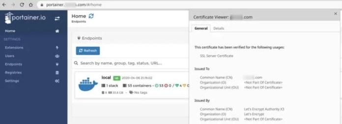 Portainer with Traefik 2 LetsEncrypt Wildcard SSL Certificate