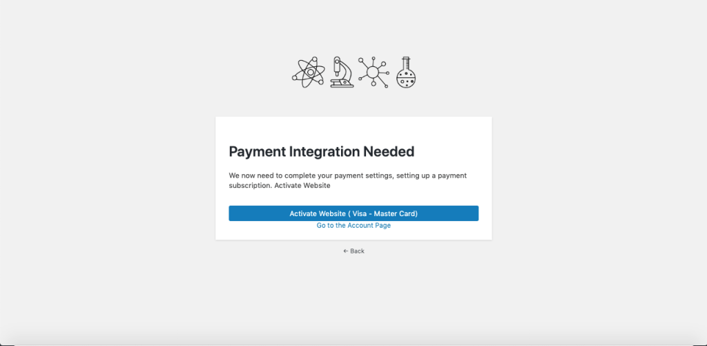 activate website by entering payment method
