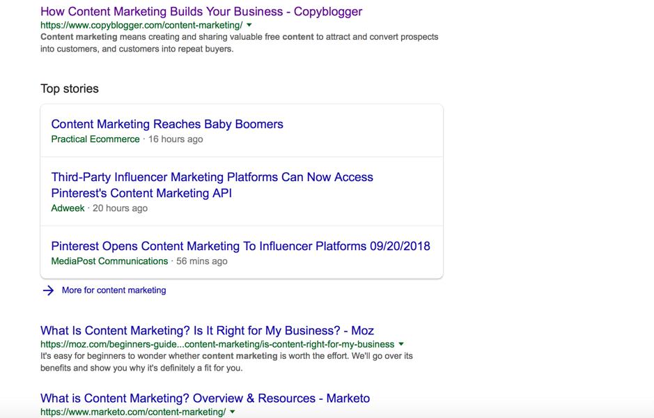 content marketing serp