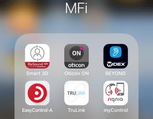 Skermbilde av ikoner for seks apper spesiallaget for høreapparater.