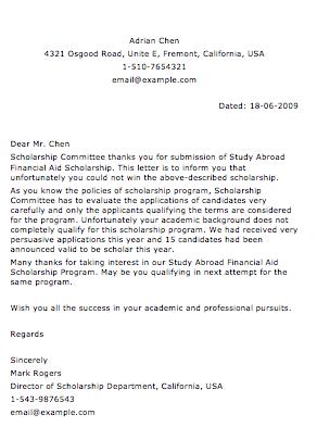 Sample Rejection Letter - Smart Letters