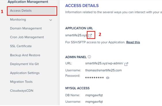 Cloudways Access Details
