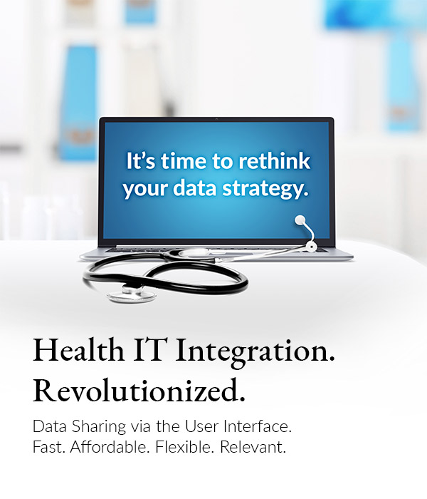 Laptop with stethoscope with the message that it's time to change your data strategy.