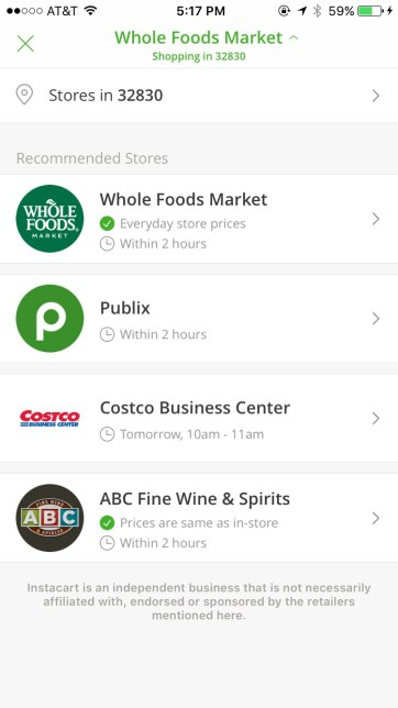 Instacart choose a store