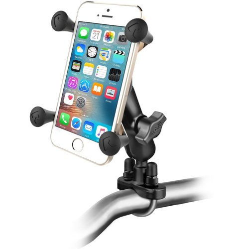 RAM Handlebar rail mount with zinc coated U-bolt and X-Grip phone/iPhone holder