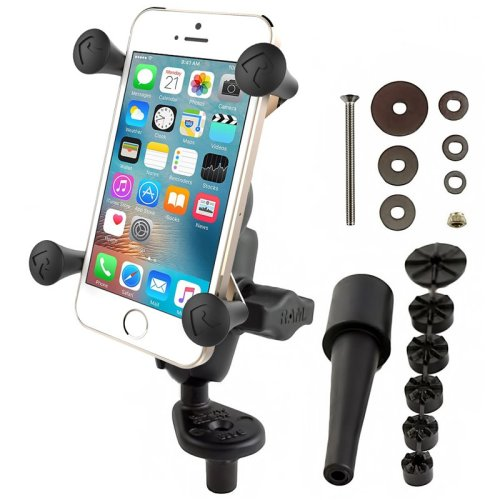 RAM Fork Stem Mount with Short Double Socket Arm & Universal X-Grip® Cell/iPhone Cradle