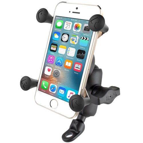 RAM 9mm Angled Base Motorcycle Mount with Short Double Socket Arm & Universal X-Grip® Cell/iPhone Cradle