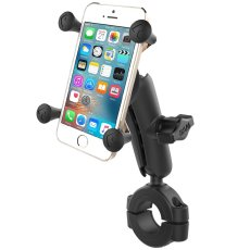 "RAM® Torque™ 1 1/8"" - 1 1/2"" Diameter Handlebar/Rail Base with 1"" Ball, Medium Arm and X-Grip® for Phones"