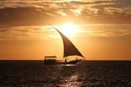 yacht under a sunset