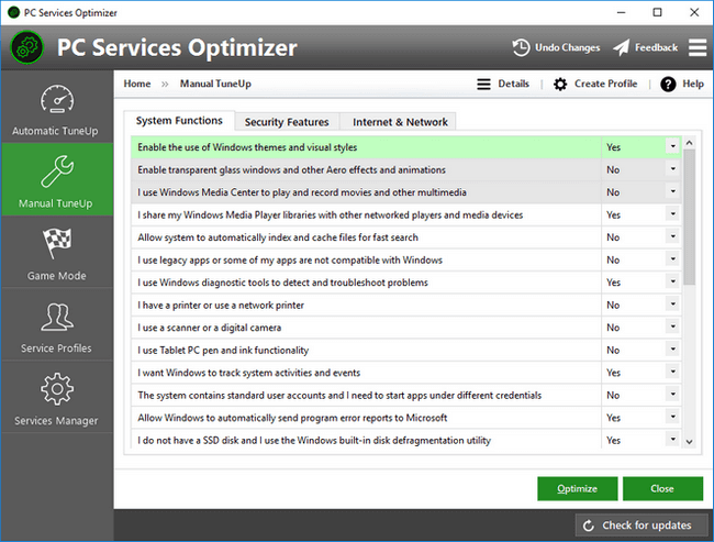 PC Services Optimizer - Optimize Windows Services with Manual TuneUp