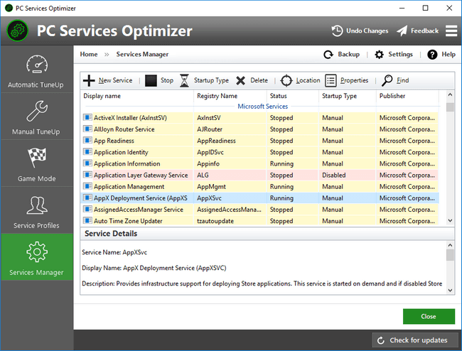 PC Services Optimizer - Manage and Optimize Windows Services with Services Manager