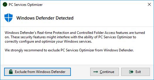 PC Services Optimizer - Windows Defender Detection