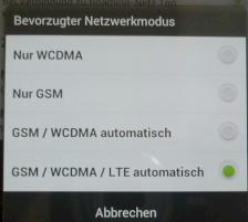 Netzstandard-Auswahlmenü des HTC One XL