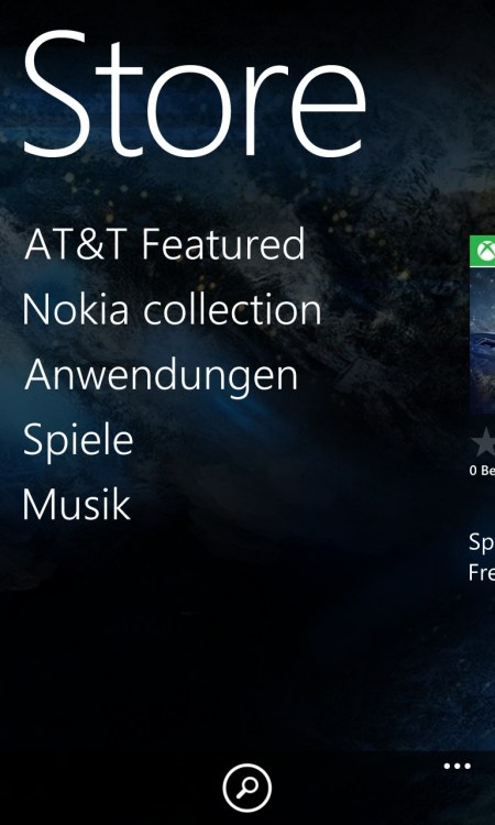 Windows Phone Store mit AT&T-Rubrik