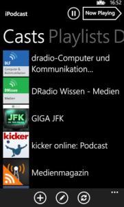 iPodcast-App auf dem Nokia Lumia 920