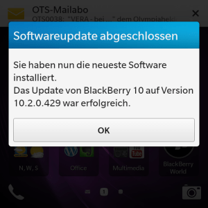 Software-Update am Blackberry Q10 installiert