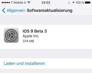 iOS 9 Beta 3 auf dem iPhone 6 installiert
