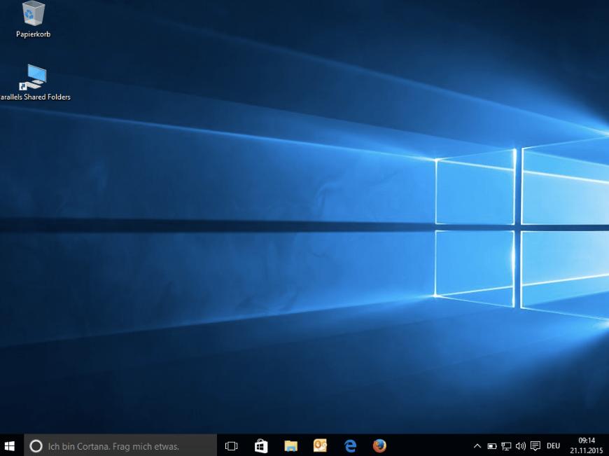 Windows-10-Oberfläche auf dem Mac