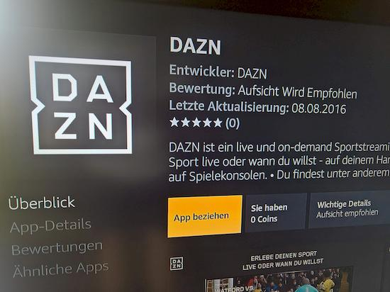 DAZN-App für Fire TV läuft nicht rund