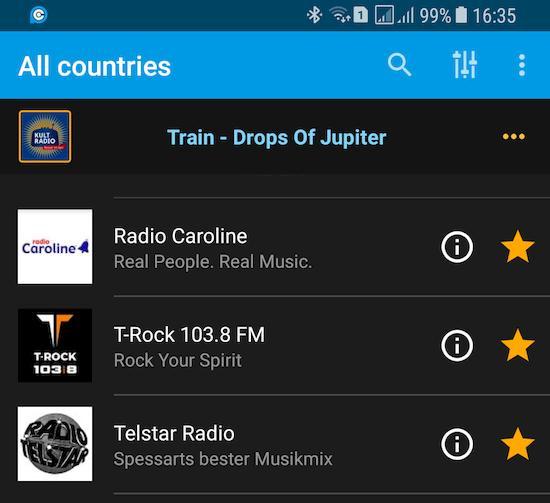PCRadio-App auf dem Samsung Galaxy S8+ Duos