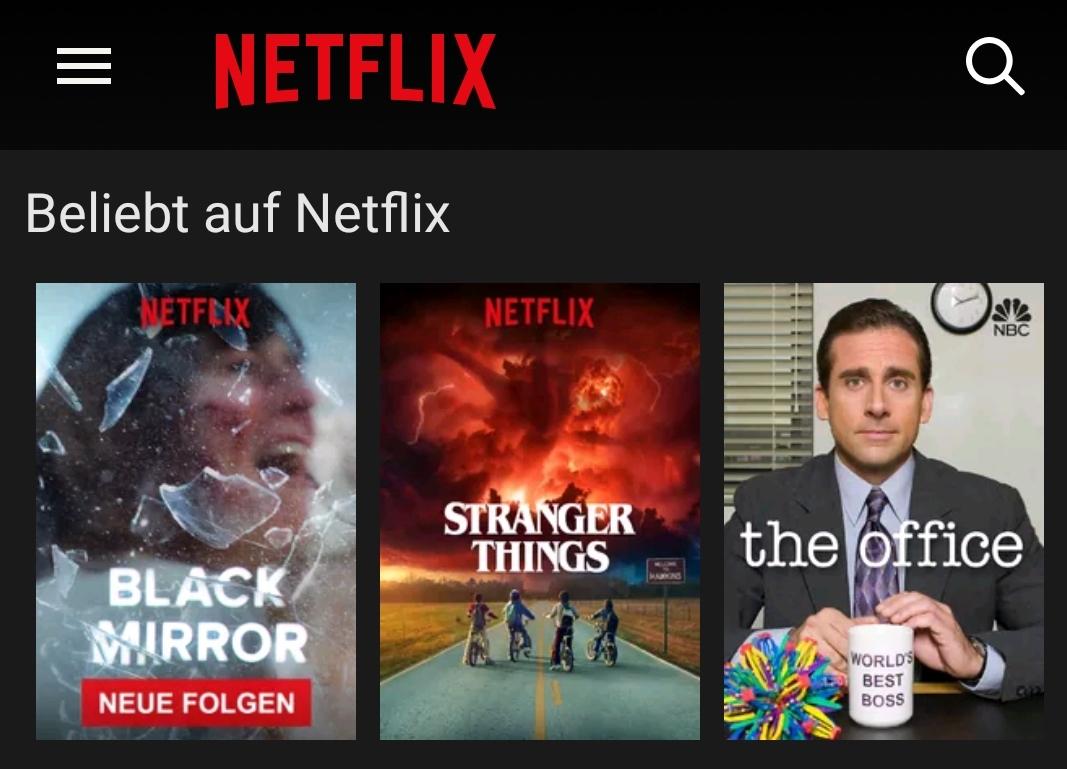 Netflix-App auf dem Huawei Mate 9