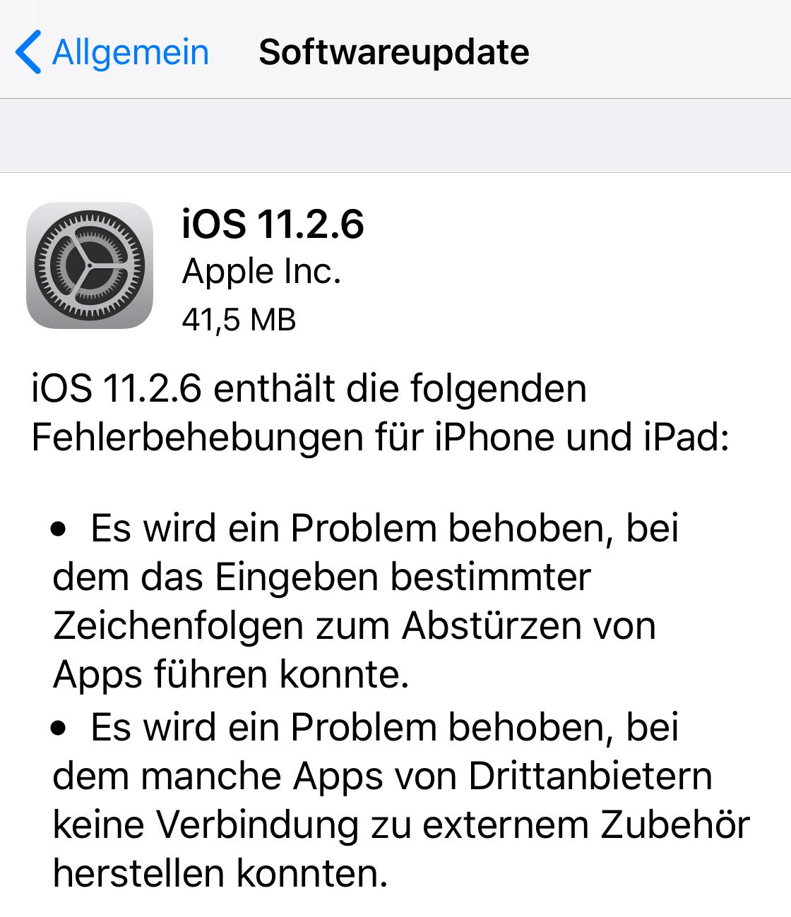 iOS 11.2.6 installiert