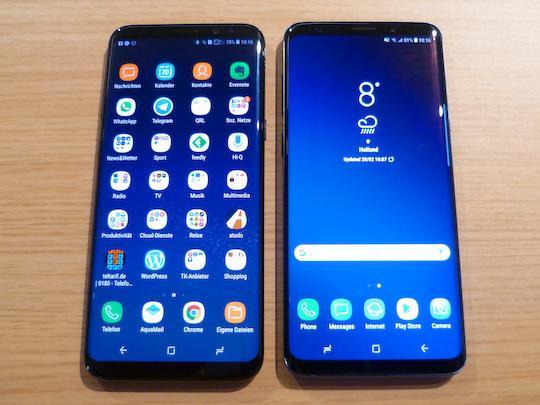 Galaxy S8+ und Galaxy S9+ nebeneinander