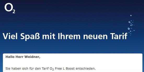 o2 Free L Boost ist aktiv