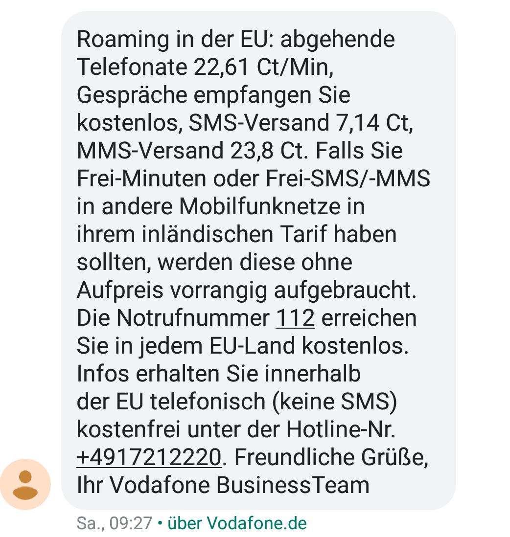 Irreführende Roaming-Info-SMS (Foto: SmartPhoneFan.de)