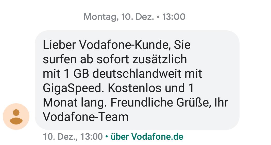 SMS-Bestätigung für geschaltetes Gratis-Datenpaket (Foto: SmartPhoneFan.de)