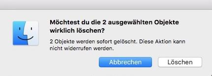 Fehlermeldung bei Mac-Papierkorb-Problem (Foto: SmartPhoneFan.de)