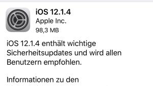 iOS 12.1.4 installiert (Foto: SmartPhoneFan.de)