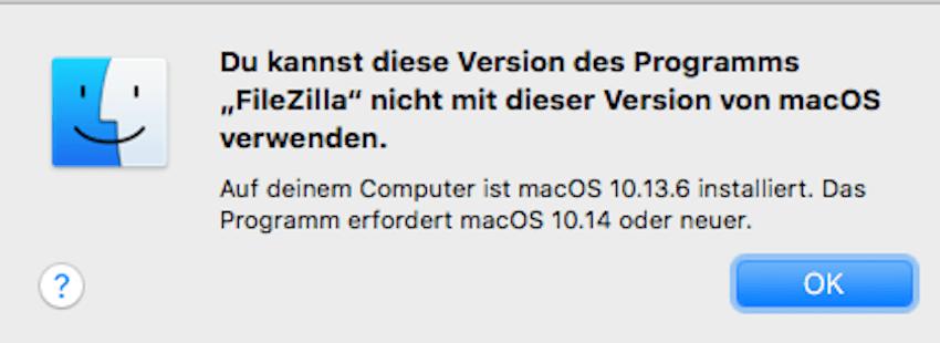 Filezilla will nur noch neueste macOS-Version (Foto: SmartPhoneFan.de)