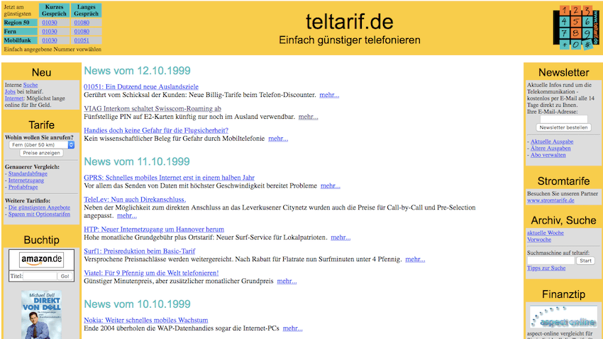 So sah teltarif.de 1999 aus (Quelle: archive.org)