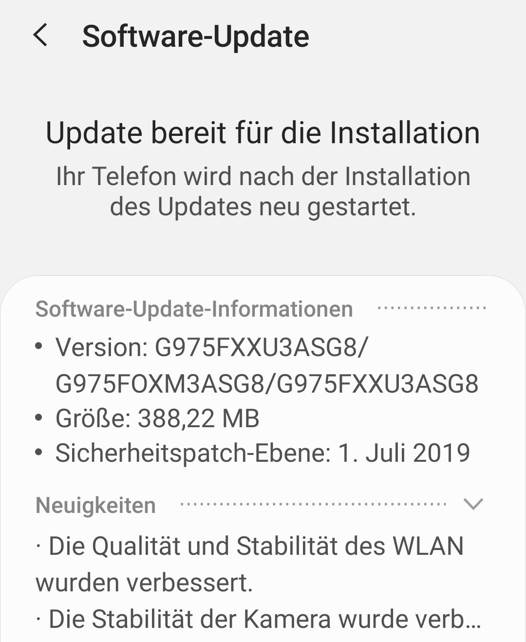 Juli-Update für Samsung Galaxy S10+ (Foto: SmartPhoneFan.de)