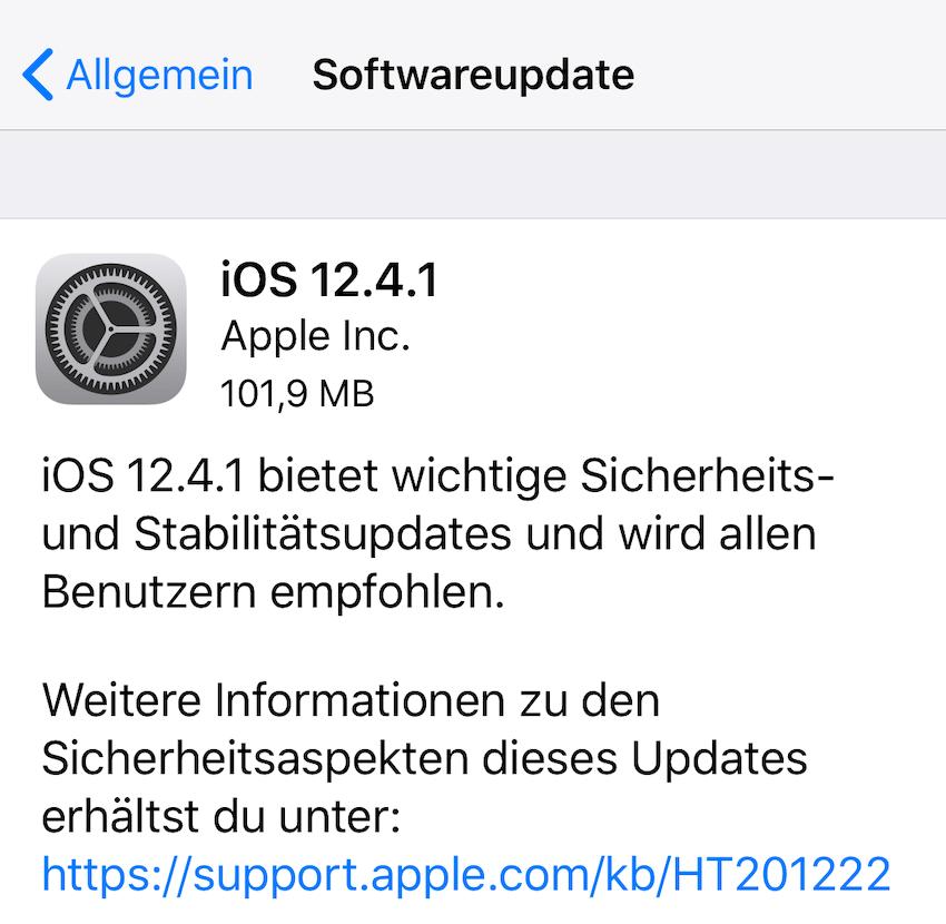 iOS 12.4.1 installiert (Foto: SmartPhoneFan.de)