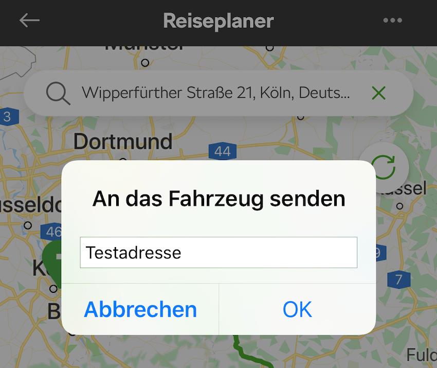 Reiseziel bei Skoda Connect wieder editierbar (Foto: SmartPhoneFan.de)
