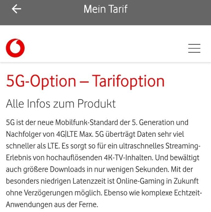 5G-Option bei Vodafone gebucht (Foto: SmartPhoneFan.de)